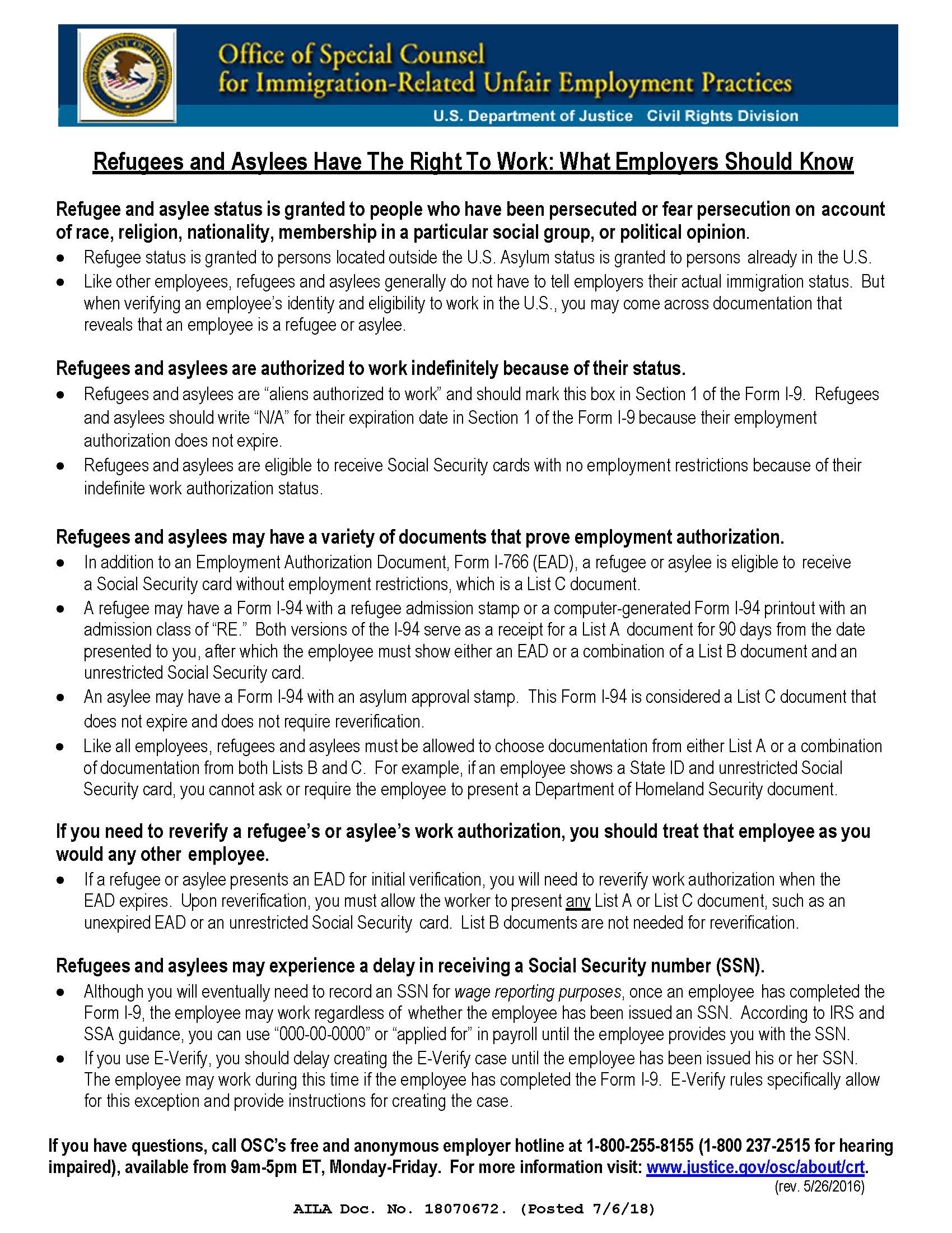 OSC Issues Flyer for Employers of Refugees and Asylees on Working in the U.S.