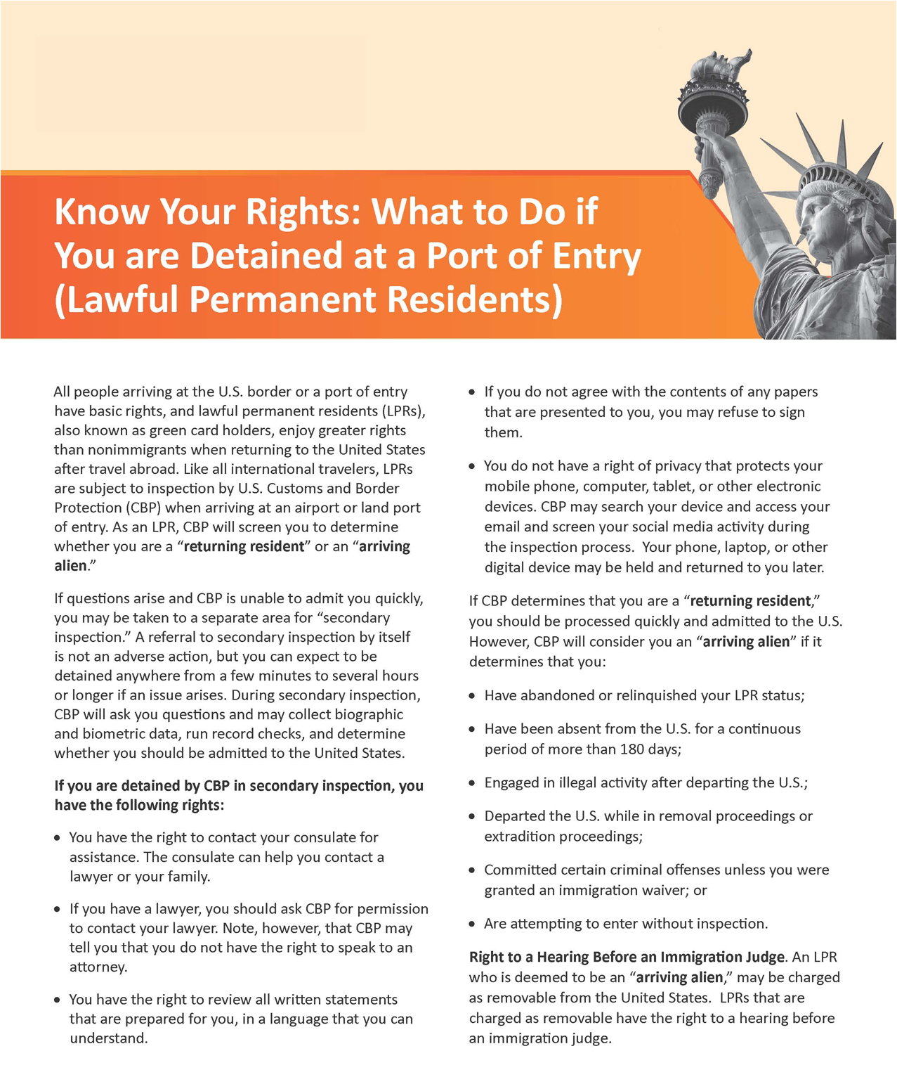 Know Your Rights: What to Do if You are Detained at a Port of Entry (Lawful Permanent Residents) 2